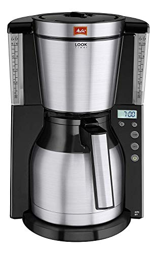 Melitta Look IV Therm Timer Cafetera de Filtro, 1000 W, Negro/Acero Inoxidable Mate