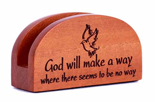 God will make a way Business card holder wooden Christian office desk gift ornament dove