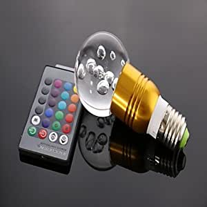 Leedfsw E27 3w RGB Crystal LED Light Bulb With 24 Keys IR Remote Controller (85V-265V)