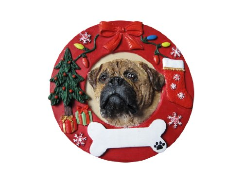 Bullmastiff Christmas Ornament Wreath Shaped Easily Personalized Holiday Decoration Unique Bullmastiff Lover Gifts