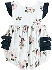 Lil Cactus Baby & Toddler Girls Vintage-Inspired Ruffle Trim One-Piece Ro