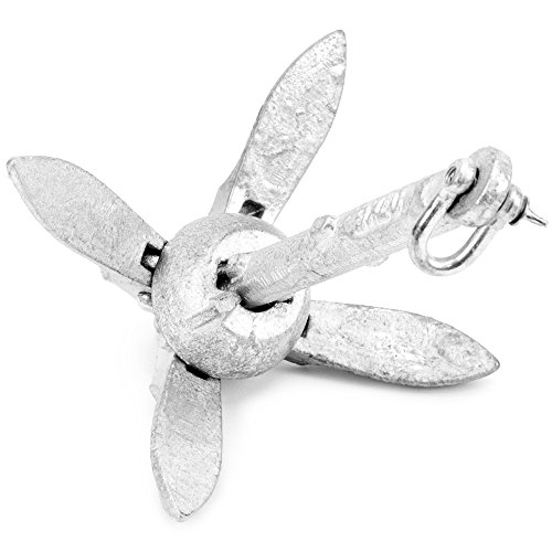Galvanized Folding Grapnel Boat Anchors - Choose the Best Weight for Your Watercraft, Up to 17.5 lbs. by Crown Sporting Goods (1.5) - Crown Sporting Goods boat anchor