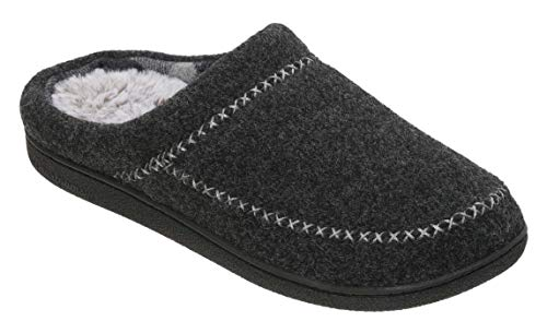 Dearfoams Women's Felt X-Stitch Clog Memory Foam Slipper (Large / 9-10 B(M) US, Black) ()