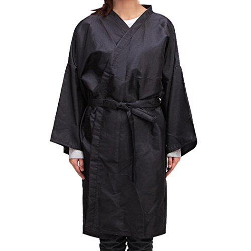 Yeefant Environmentally Friendly Salon Cutting Hair Waterproof Adjusted Cloth Barber Gown Cape Hairdresser, Non-Stick, Black -