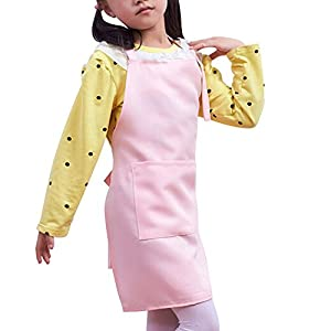 Rely2016 Children Kid Kitchen Apron Garden Plain Aprons Dining Bib Craft Drawing Apron with Two Big Pocket - 8 Colors