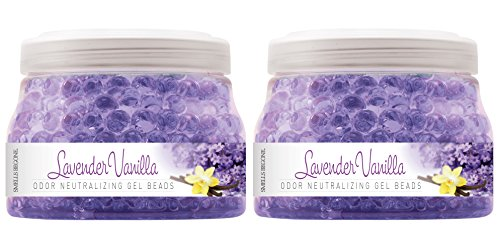 SMELLS BEGONE Odor Eliminator Gel Beads - Air Freshener with Essential Oils - Eliminates Odors in Pet Areas, Bathrooms, Boats, RVs and Cars - Non-Toxic - 12 Ounce (Lavender Vanilla Scent - 2 Pack)