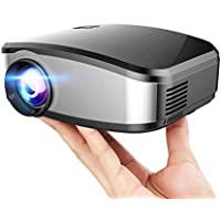 Mengshen LED Projector Mini HD Portable 1200 Lumens 1080P Contrast 1200:1 130 for Cinema Movie Night Video TV Gaming USB VGA AV ATV LCD Video Projector MS-C6Black