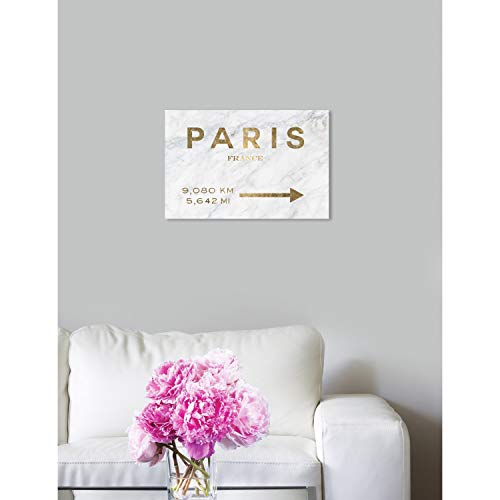 Amazon.com: Oliver Gal Paris to LA Road Sign Marble Cities Wall Art Print on Premium Canvas - Gold ; Marble 15x10: Posters & Prints