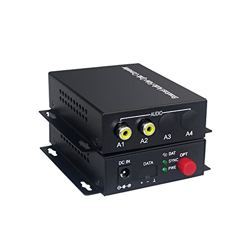 Guantai 2CH Audio Over FC Fiber Optic Extender (one Way), Transmitter and Receiver, for Audio Intercom Broadcast System (Tx/Rx) Kit