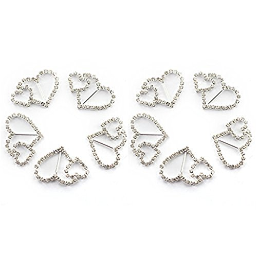 (Tinksky Double Heart Rhinestone Ribbon Buckles Sliders, Pack of 10)