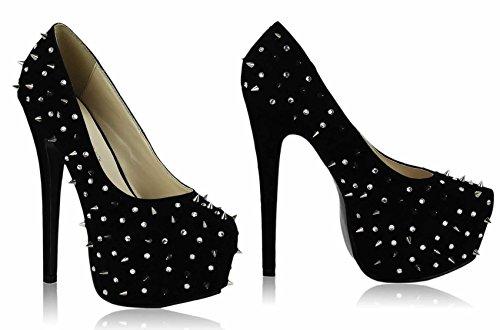 Günstige Schuhe Bestellenz-Frauen-Schuhe Diamante Sandalen Stud Partei Plattform-Stilett-Größe 3-8 Stil 1 - Schwarz