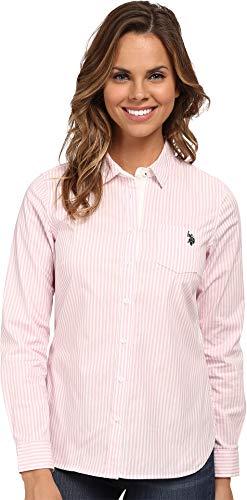 Shirt Woven Stripe Vertical (U.S. Polo Assn. Juniors' Long Sleeve Stretch Poplin Woven Shirt, 3227-Prism Pink, M)