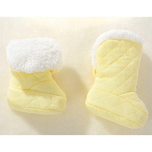 EQLEF® 1 Paire Automne Hiver Jaune épaissie Cachemire doux Chaussons chauds Chaussures pour bébé 0-3 mois