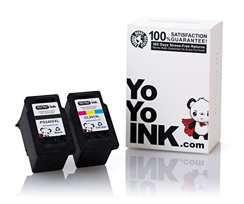 YoYoInk 2 Pack Remanufactured Ink Cartridge Replacement for Canon PG-240XXL & CL-241XL CL241 (1 Black, 1 Color) for MG3620 MG3520 MX472