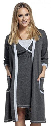 Happy Mama. De Las Mujeres Maternidad Hospital Nightie/túnica. Se venden por separado. 772p Robe - Graphite & Grey