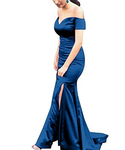 Aiyana Elegantes Ärmellos V-Ausschnitt Meerjungfrau Abendkleider Langes Rueckenfrei Kleid Rot Ballkleider 36 für Damen Fuchsie cnP3HV