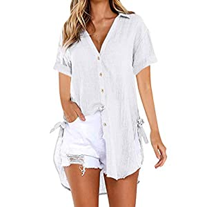 Womens Blouse Summer Womens Loose Tops Plus Size Button Long Shirt Dress Cotton Ladies Casual T Shirt
