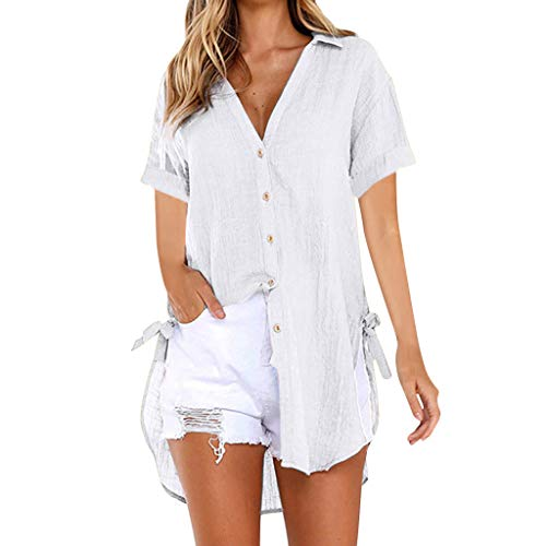 Womens Shirts Short Sleeve Button Down Tops Summer V Neck Loose Casual Plain Tunic T Shirts Blouses White