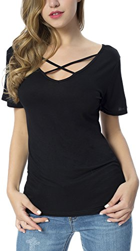Songbai Solid Color Basic V Neck T Shirt For Women Plus Size Black L Cotton Criss Cross