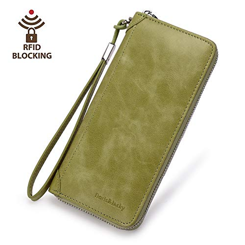 Women Leather Wallet Rfid Blocking Large Capacity Zipper Around Travel Wristlet Bags (Palm Green) by Doris&Jacky