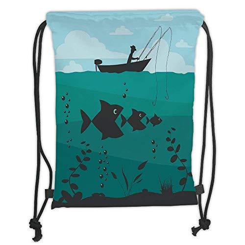 Custom Printed Drawstring Backpacks Bags,Fishing Decor,Single Man in Boat Luring with Bobbins Nautical Marine Sea Nature Funky Image,Blue Teal Soft Satin,5 Liter Capacity,Adjustable String Closur