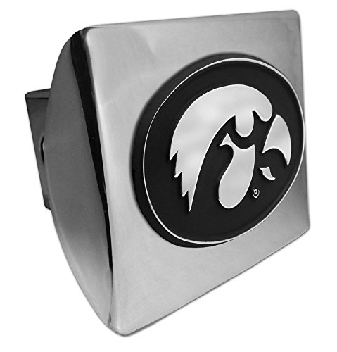 MVP Accessories Iowa Hawkeyes Chrome Metal Hitch Cover with Chrome Logo