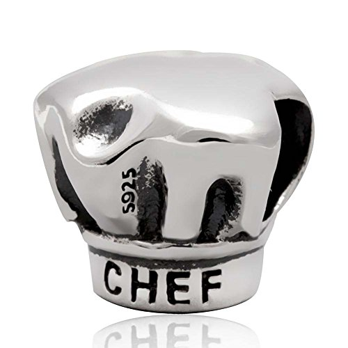Chef Charm Sterling Silver Hat Charm I Love Cooking Charm for Bracelet