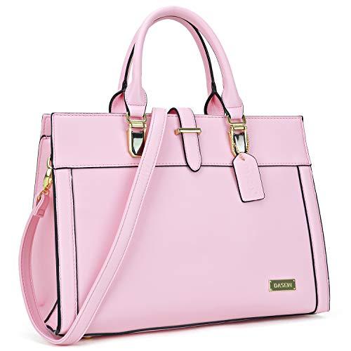 DASEIN Designer Tote Purse Satchel Handbag Faux Leather Shoulder Bag Top Handle Bag Briefcase Work Bag (8185-Pink)