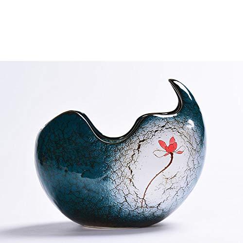 - Better-way Egg Crack Design Ceramic Planter Succulent Plant Pots Orchid Container Indoor Gardening 6.3 Inch (Navy Blue)