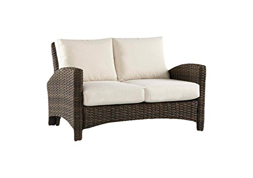- South Sea Rattan Panama Collection Loveseat with Cushions, Canvas