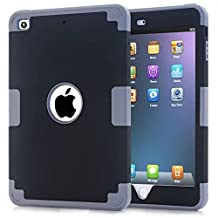 iPad Mini Case,Lantier Cool Series 3 in 1 Hybrid Armor Design PC+ Silicone Defender Case Combo Hard Soft Shockproof Thin Slim Lightweight Case Cover for iPad Mini 1 2 3 Deep Gray+Black