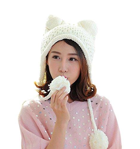 BIBITIME Women's Hat Cat Ear Crochet Braided Knit Caps Warm Snowboarding Winter (One size, (White Bunny Hat)