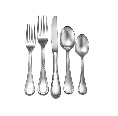 (Liberty Tabletop Pearl 65-piece 18/10 Flatware Set Service for 12, Includes Serving Pieces Made in USA)
