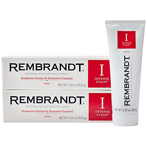 Rembrandt Intense Stain Whitening Toothpaste, Mint Flavor, 3.52-Ounce (2 Pack) ()