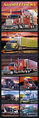 Wizard Supertrucks Semi Trucks Big Rigs Photo Collage Collection Transportation Door Poster 12x36 Inch