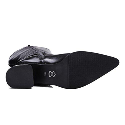Ei&iLI Hiver Malorie bouton haut Fashion femmes bottes en similicuir extérieur / occasionnel , black , 43