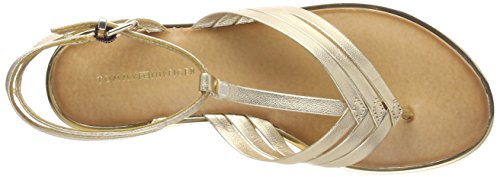 Tommy Hilfiger Metallic Flat T-Bar Sandal, Sandalias con Tira Vertical Para Mujer Dorado (Mekong 709)