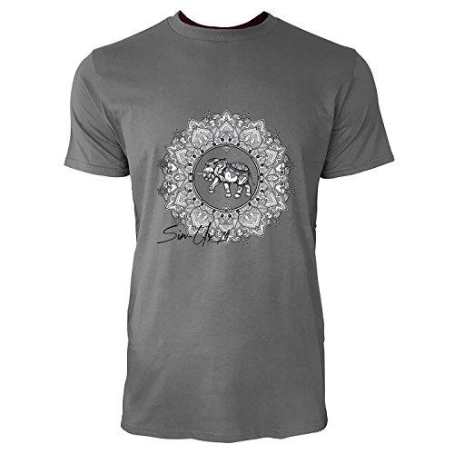 SINUS ART® Mandala mit Ornamenten und Elefanten Herren T-Shirts in Grau Charocoal Fun Shirt mit tollen Aufdruck