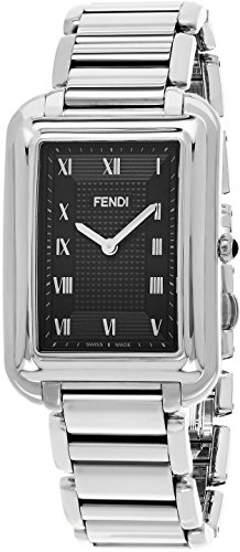 Fendi Classico Rectangular Swiss Made Classic Mens Thin Watch Stainless Steel Metal Band - Analog Quartz Black Face with Sapphire crystal Luxury Rectangle Dress Watches For Men - Fendi Vintage Mens