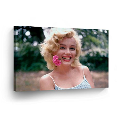 Marilyn Color Monroe (Smile Art Design Marilyn Monroe Flower in Mouth Canvas Print Decorative Art Modern Wall Décor Artwork Wrapped Wood Stretcher Bars - Ready to Hang -%100 Handmade in the USA 8x12)