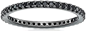 Black-Plated Sterling Silver Swarovski Zirconia Black Round Cut Eternity Band Ring, Size 7