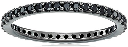 Black-Rhodium-Plated Sterling Silver Swarovski Zirconia Black-Rhodium Round Cut All-Around Band Ring, Size 7