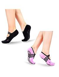 BADALink Yoga Socks 2 Packs Non Slip Skid Low Cut Grip Cotton Women & Girl Ankle Socks for Barre, Yoga, Ballet, Pilates, Exercise, Studio Lace-up, Daily Use