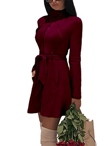 Ninimour Womens Zipper Front Pocket Design Belted Coats Wine Red S (Trench Zipper)