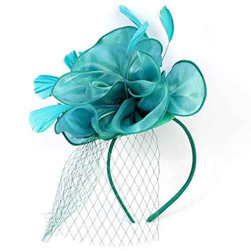 Sinamay Feather Fascinators Womens Pillbox Flower Derby Hat for Cocktail Ball Wedding Church Tea Party (Green 01)