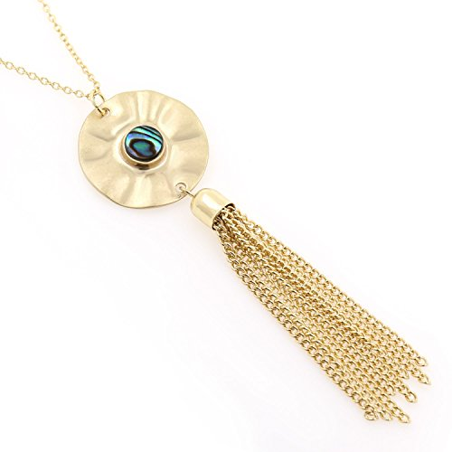 KISSPAT Long Tassel Necklace 14 K Gold Plated Sparkly Faux Druzy Pendant Long Chain Necklaces for Women Girls