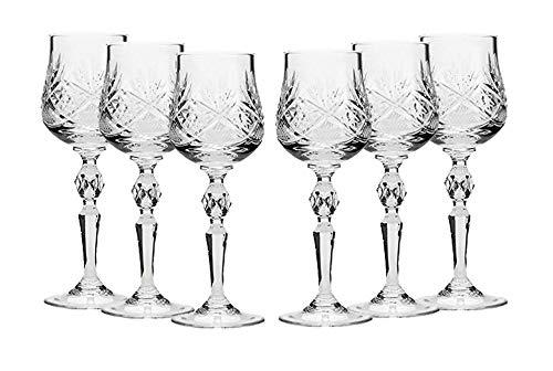 Belarus Set of 6 Russian Cut Crystal Shot Glasses 2-Oz. Hand Made Vodka or Liquor Stemmed Vintage Glassware