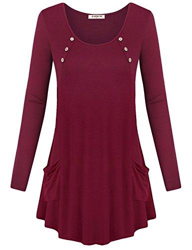 Summer Tunic for Women,Jazzco Long Sleeve Pockets Casual Tee Shirts Tunic Tops (Wine,Large)