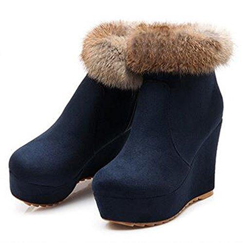 Solshine Damen Wildleder Rabbit Pelz Gefüttert Plateau Keilabsatz Knöchel Stiefel Stiefeletten Dunkel Blau