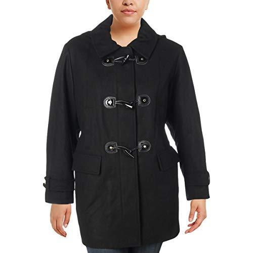 Hooded Toggle Wool Blend (MICHAEL Michael Kors Womens Plus Fall Wool Blend Toggle Coat Black 2X)